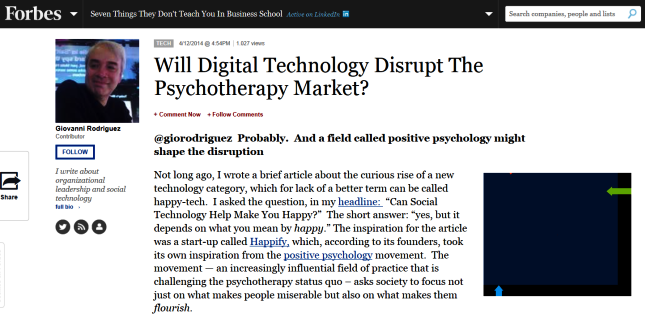Will Digital Technology Disrupt The Psychotherapy Market?