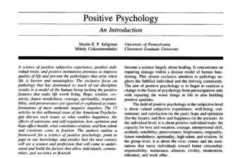 Positive Psychology - An Introduction