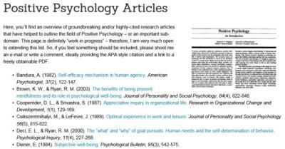 Positive Psychology Articles