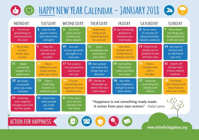 Action For Happiness Kindness Calendar February 2019 With this Calendar, you´ll start 2018 just right | Action for