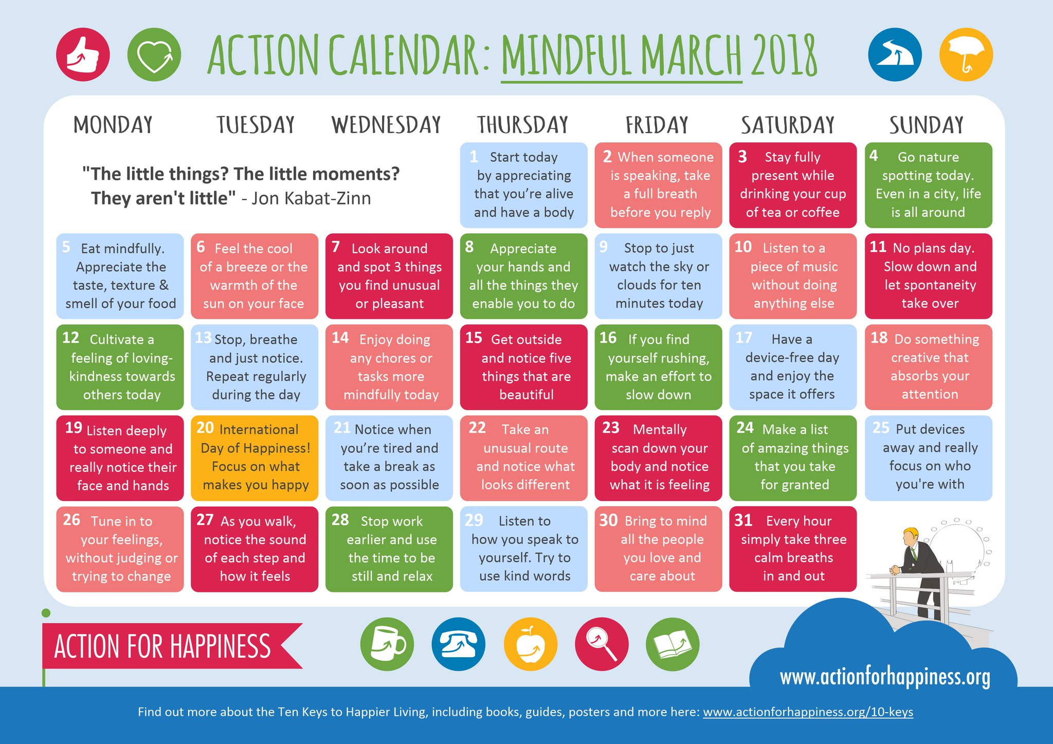 Get your Calendar for Mindful March from Action for